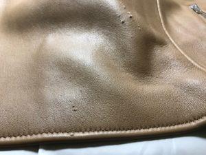 [レザージャケット]  猫爪傷の修理